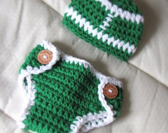 Baby FOOTBALL TEAM Hat and Diaper Cover Set - Photo Prop - You Choose Team Colors - Made to ORDER
