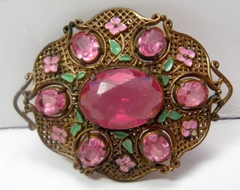 Large statement vintage bronze tone brooch with deep ROSE stones, and little enameled leaves
