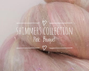 """SHIMMERS collection of hand carded batts - """"PINK BOUQUET"""" - spinning felting weaving"""
