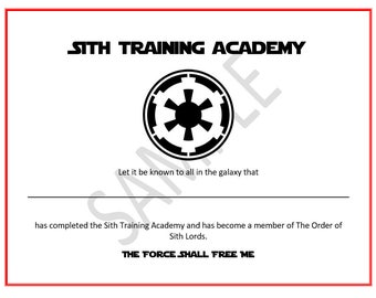 Sith Lord  Training Academy Certificate Party Favor