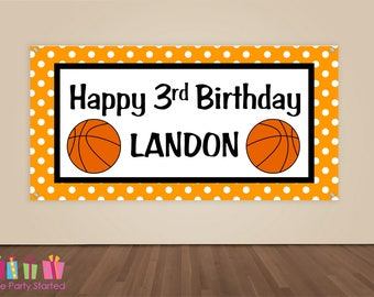 HAPPY BIRTHDAY Banner, Basketball Birthday Decorations, Basketball Party Backdrop, Sports Ball Party Banner, Boys Birthday, Vinyl Banner