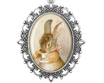 Beatrix Potter 'Teacup Bunny' Peter Rabbit Tea Party Vintage Inspired Bronze Silver Large Cameo Necklace Jewellery