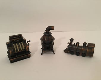 Three Miniature Pencil Sharpeners - Pot Belly Stove, Train and Cash Register