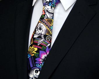 Day of the Dead Tie – Halloween Neck Tie, Great Mens Skull Necktie or Unique Colorful Tie. Also Makes a Nice Gift for Dad.