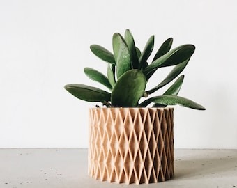 Minimalist and Geometric Wood Planter for succulents or cacti / Modern Design / Hygge / CROIX DE BOIS perfect for cactus and succulent