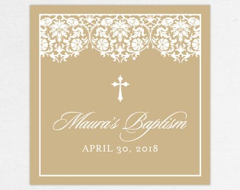 Baptism Favor Tag, Baptism Favor Label, Christening Favor Tag, Christening Favor Label, Printed, Floral, Damask, Lace, Girl, Kraft, Maura