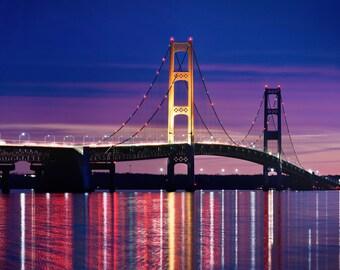 "Bridge Photo, Mackinaw Bridge, Night Photography, Michigan, Architecture Photo, ""Mackinaw Lights"", Fine Art Photography, Mackinaw City"
