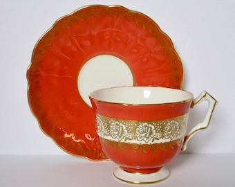 Aynsley England  Orange Colour Bone China Footed Tea Cup and Saucer
