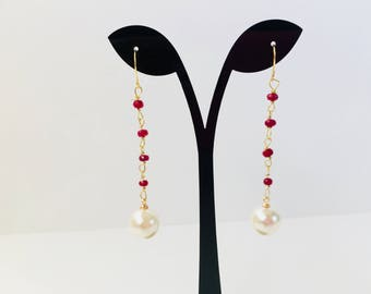 Pearl Dangle and Drop Earrings,Ruby Dangle and Drop Earrings,Pearl Earrings,Linear Earrings,Ruby Earrings,Large Pearl and Ruby Bead Earrings