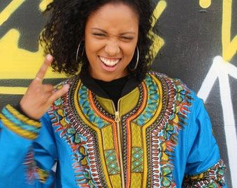 Wax Bomber Jacket - African Print Jacket - Dashiki Jacket -Dashiki Bomber jacket - African Clothing - Festival Clothing - Festival Jacket -