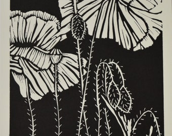 Handprinted Poppy Linoprint