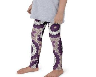 Girls Mandala Printed Yoga Pants, Activewear for Children, Kids Yoga Leggings