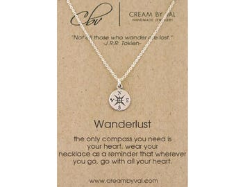Wanderlust Jewelry - Silver Compass Necklace Travel Gift Graduation Gift Leaving Home For College Gift For Traveler Adventure Seeker BFF
