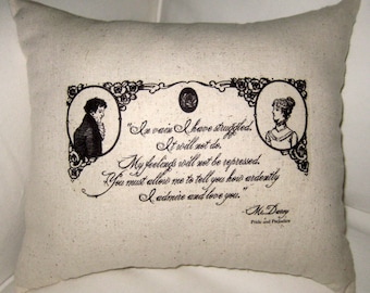 Antique Silhouette Jane Austen Mr. Darcy Pillow, Shabby Chic Cushion, Home Decor, Cameo, Pride and Prejudice, Proposal, Love, Wedding