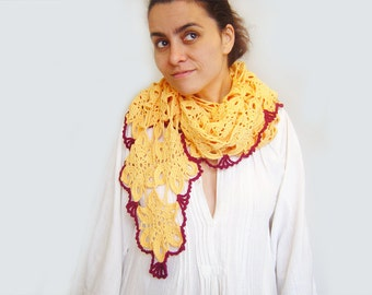 Lace Shawl. Knitted Scarf. Fair Trade Clothing. Shawl Scarf. Wrap Scarf