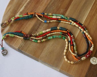 Multi Strand Boho Necklace Tribal African Multicolor Bead Necklace Multi layer Seed Bead African Ethnic Jewelry Statement Woman Necklace