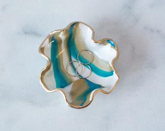 Teal and Gold Ring dish, Marbled Clay Teal Ring Dish, Clay Ring bowl Office Decor, Colorful Ring Dish, Teal, Gold and White Ring Dish