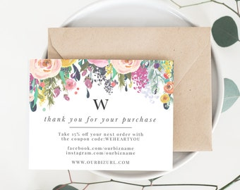 INSTANT Business Thank You Cards, Editable PDF Printable Packaging Inserts for Online Shop, Etsy Sellers | Monogram, Floral Willow, Template