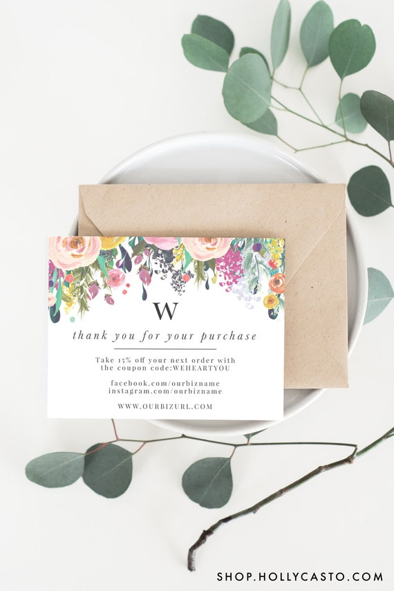 Instant business thank you cards editable pdf printable instant business thank you cards editable pdf printable packaging inserts for online shop etsy sellers monogram floral willow template cheaphphosting Choice Image