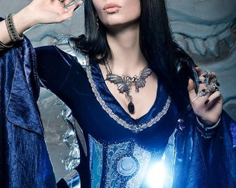 Midnight Blue Elven Costume Elven Dress Corset made to order