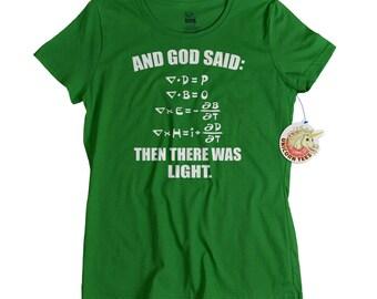 Ladies science t shirt creationism geekery screenprint tshirt womens black cotton scientific light equation sun geek top for girls fun gift