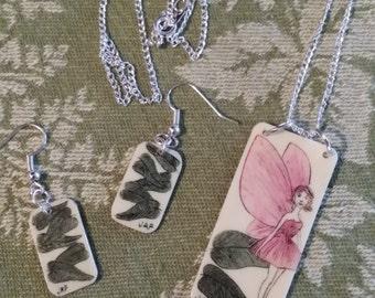 Scrimshaw Jewelry Set Lovely Pink Winged Fairy OOAK