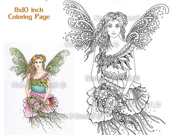 Innocence Fairy Tangles Printable Adult Coloring book Sheets & Pages by Norma J Burnell Fairies to Color Adult Coloring - Digital coloring