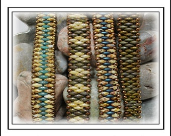 Tutorial ~ Petite SuperDuo Band Bracelet by Reggie's Creations ~ Beaded Bracelet Pattern