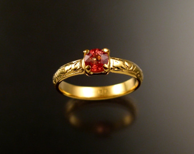 Orange Sapphire Wedding engagement ring 14k Yellow Gold Victorian 5mm round Natural Padparadscha ring made to order in your size