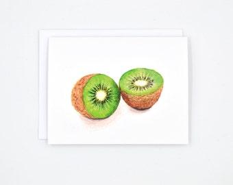 Kiwi Watercolor Notecard, Kiwi Food Art, Kiwi Food Illustration, Fruit Notecard, Single Notecard, Kiwi Notecard, Greeting Card