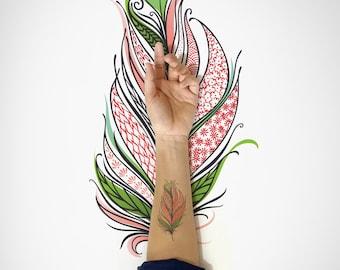 Feather Temporary tattoo / Decorative Bird Feather Temporary Tattoo / Nature Bird Feather Flash Tattoo / Spring Flash Tattoo / Body Sticker