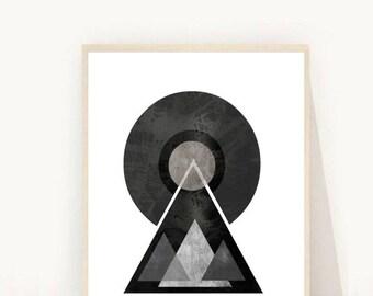 Geometric Art Print, Mid Century Modern, Printable Wall Art, Scandinavian art,  Instant Download, Modern Wall Art, Geometric Art