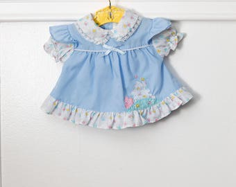 0-6 months: House Appliquéd Baby Dress/ Top, Flutter Sleeve Attached Pinafore Style, Blue Vintage Baby Dress