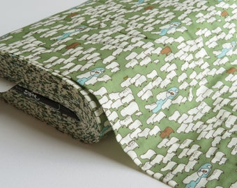 1/2 yard Kobayashi Double Gauze - Capybaras on Green - KTS-6145 - Japanese Import