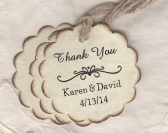50 Wedding Tags Personalized Thank You Gift Tags For Wedding And Bridal Shower Favor Label Hang Tags - Rustic Vintage Style