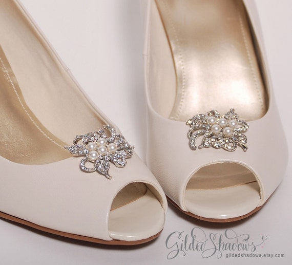 Bridal shoe clips wedding shoe clips crystal shoe clips bridal shoe clips wedding shoe clips crystal shoe clips pearl shoe clips shoe embellishments bridesmaid shoes ready to ship maggie junglespirit Image collections