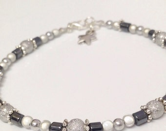 Anklet with hematite and reiki.-STARDUST