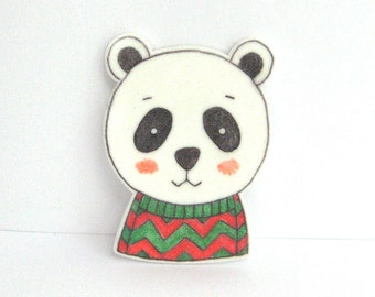 Bear with Sweater Brooch. Bear Pin
