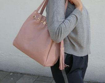 Women Genuine Leather Handbag -mod.45 pink