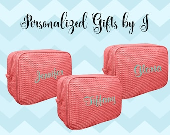 Set of 2 Bridesmaid Makeup Bag, Bridesmaid Cosmetic Waffle Bag, Bridesmaid Bag, Monogrammed Bag, Personalized Bridal Party Gift