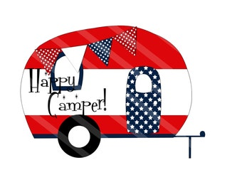 Camper Trailer Happy Camper Digital Download Printable for creating iron-ons, heat transfer, Scrapbooking, Cards, Tags, DIY, YOU PRINT