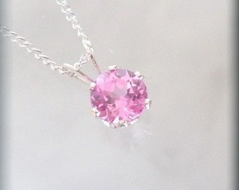 October Birthstone Necklace, Pink Jewelry, October Birthday Gift, Pink Tourmaline Solitaire, Sterling Silver, Minimalist, Everyday