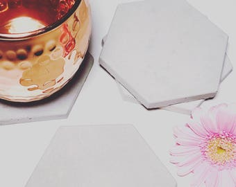 Concrete Hexagon Coasters Industrial Geometric