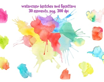 Watercolor Blotches and Splatters Patterns instant download for graphic banner design photoshop effects
