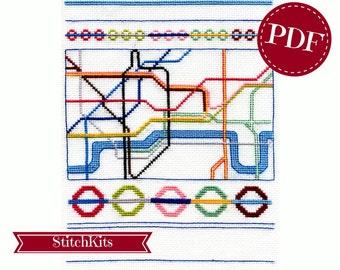 Lovely London, cross stitch pattern, PDF file