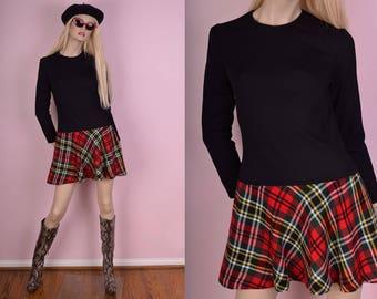 60s 70s Black and Plaid Dress/ Medium/ 1960s/ 1970s/ Vintage