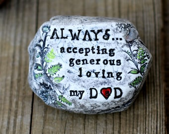 Personalized dad rock garden stone gift for him, Happy Birthday Dad