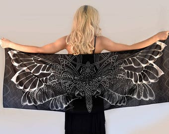 Black Scarf, Wings Scarf, Hand Painted Silk Scarf, Women scarf, Cotton scarf, Black silk scarf women