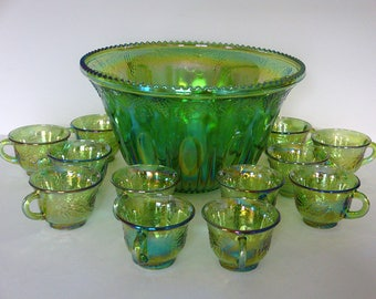 Vintage Green Harvest Carnival Princess Punch set - Indiana Glass - 13 Pieces