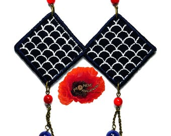 Red Blue earrings embroidered Japanese fabric and tagua